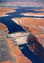 Gle Canyon Dam, Lake Powell, Page, Arizona, engineering, construction, bridge building