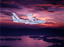 Lake aircraft, amphibian seaplane, Renegade, sunset, airplane, flash lighting